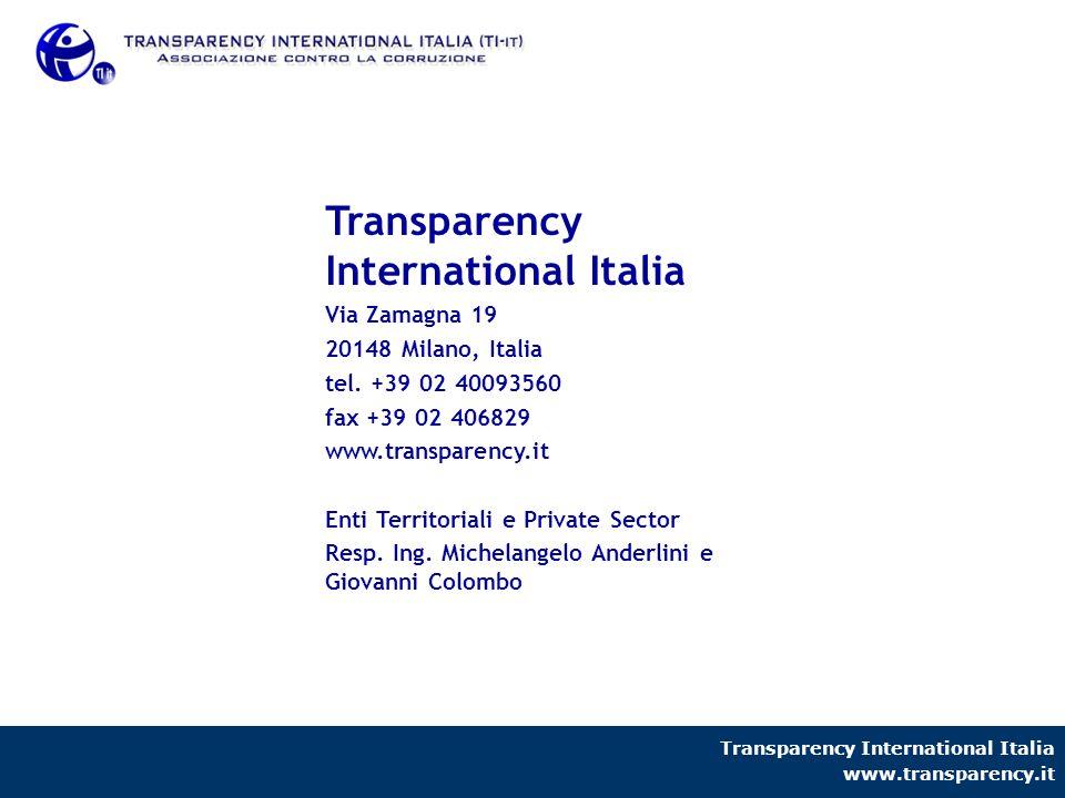Transparency International Italia www.transparency.it Transparency International Italia Via Zamagna 19 20148 Milano, Italia tel. +39 02 40093560 fax +