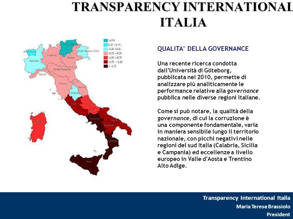 Transparency International Italia Maria Teresa Brassiolo President TRANSPARENCY INTERNATIONAL ITALIA QUALITA' DELLA GOVERNANCE Una recente ricerca con