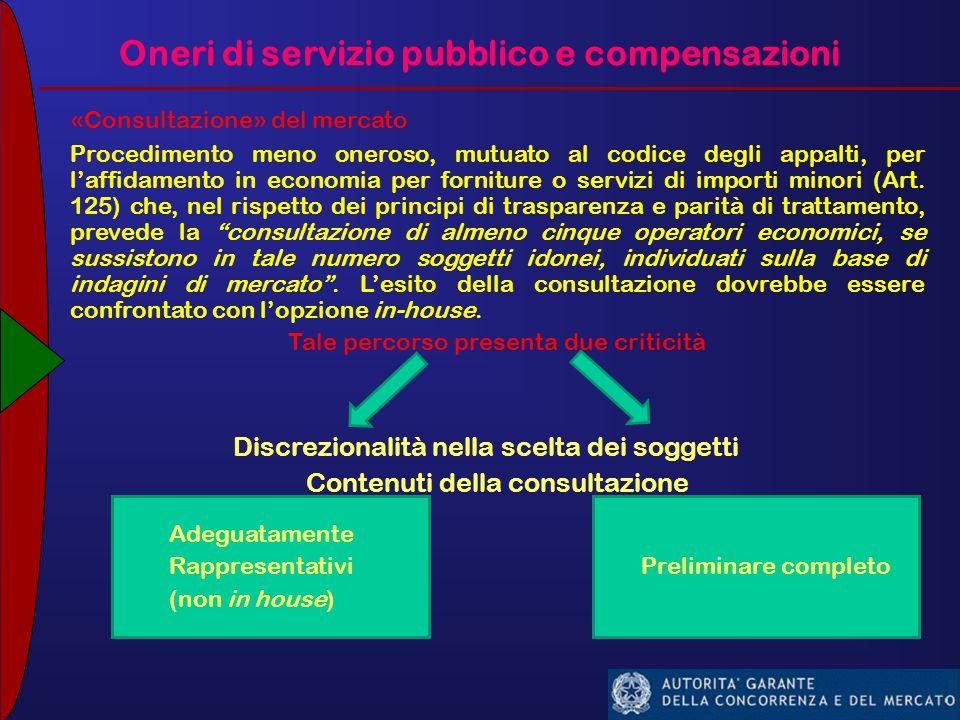 Oneri di servizio pubblico e compensazioni «Consultazione» del mercato Procedimento meno oneroso, mutuato al codice degli appalti, per l'affidamento in economia per forniture o servizi di importi minori (Art.