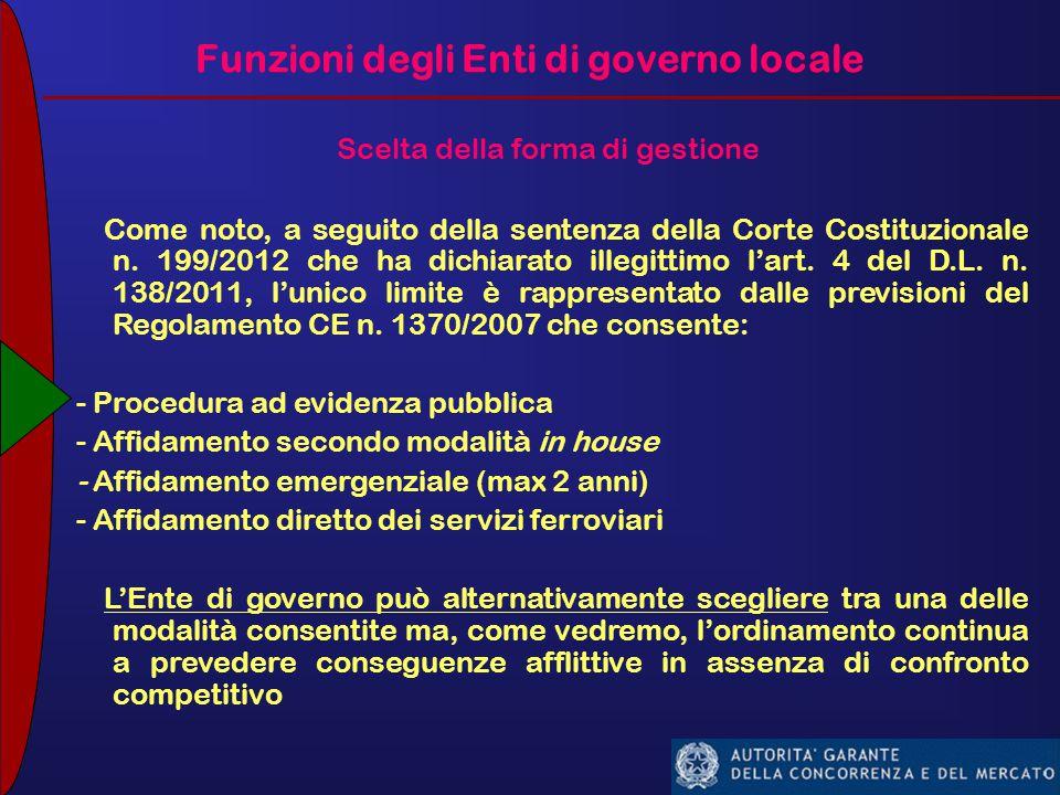 Funzioni degli Enti di governo locale Scelta della forma di gestione Come noto, a seguito della sentenza della Corte Costituzionale n.