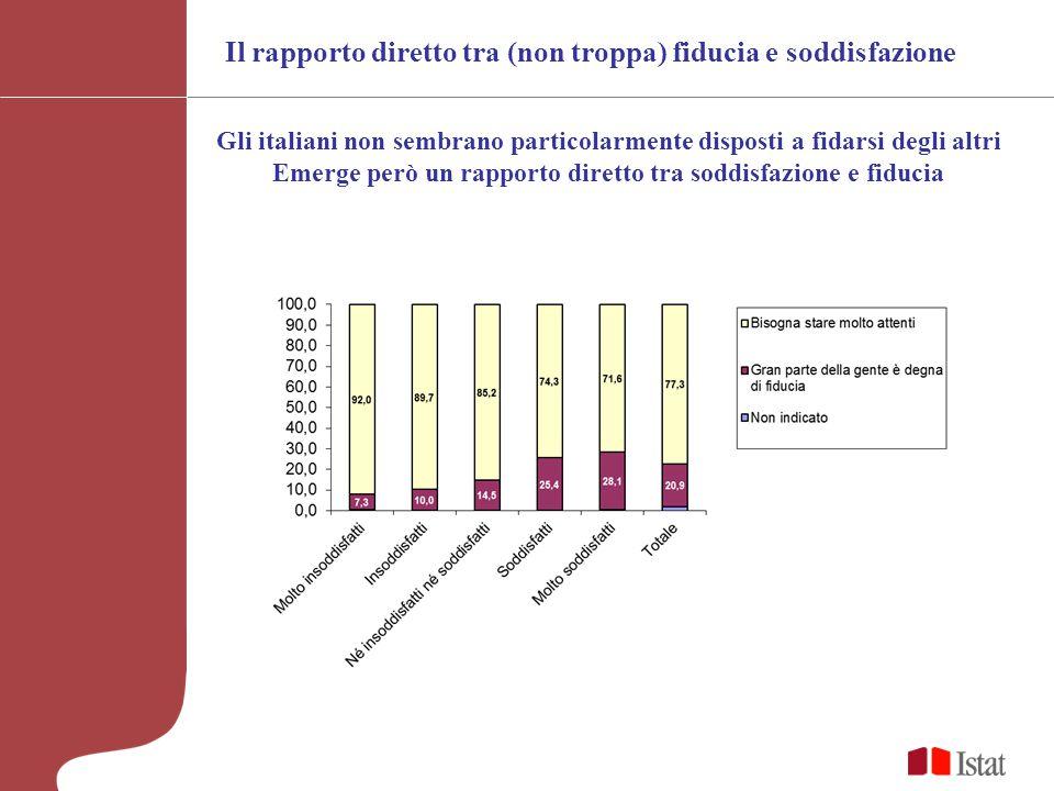 Il rapporto diretto tra (non troppa) fiducia e soddisfazione Gli italiani non sembrano particolarmente disposti a fidarsi degli altri Emerge però un rapporto diretto tra soddisfazione e fiducia