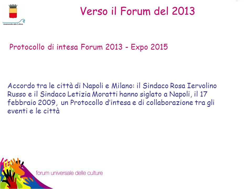 Accordo tra le città di Napoli e Milano: il Sindaco Rosa Iervolino Russo e il Sindaco Letizia Moratti hanno siglato a Napoli, il 17 febbraio 2009, un Protocollo d'intesa e di collaborazione tra gli eventi e le città Protocollo di intesa Forum 2013 - Expo 2015 Verso il Forum del 2013