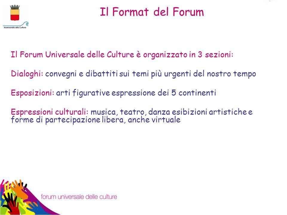 Il Forum Universale delle Culture è organizzato in 3 sezioni: Dialoghi: convegni e dibattiti sui temi più urgenti del nostro tempo Esposizioni: arti figurative espressione dei 5 continenti Espressioni culturali: musica, teatro, danza esibizioni artistiche e forme di partecipazione libera, anche virtuale Il Format del Forum