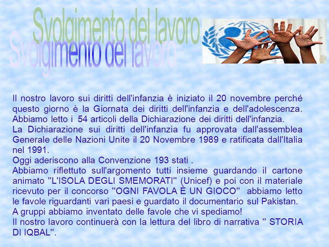 Il nostro lavoro sui diritti dell'infanzia è iniziato il 20 novembre perché questo giorno è la Giornata dei diritti dell'infanzia e dell'adolescenza.