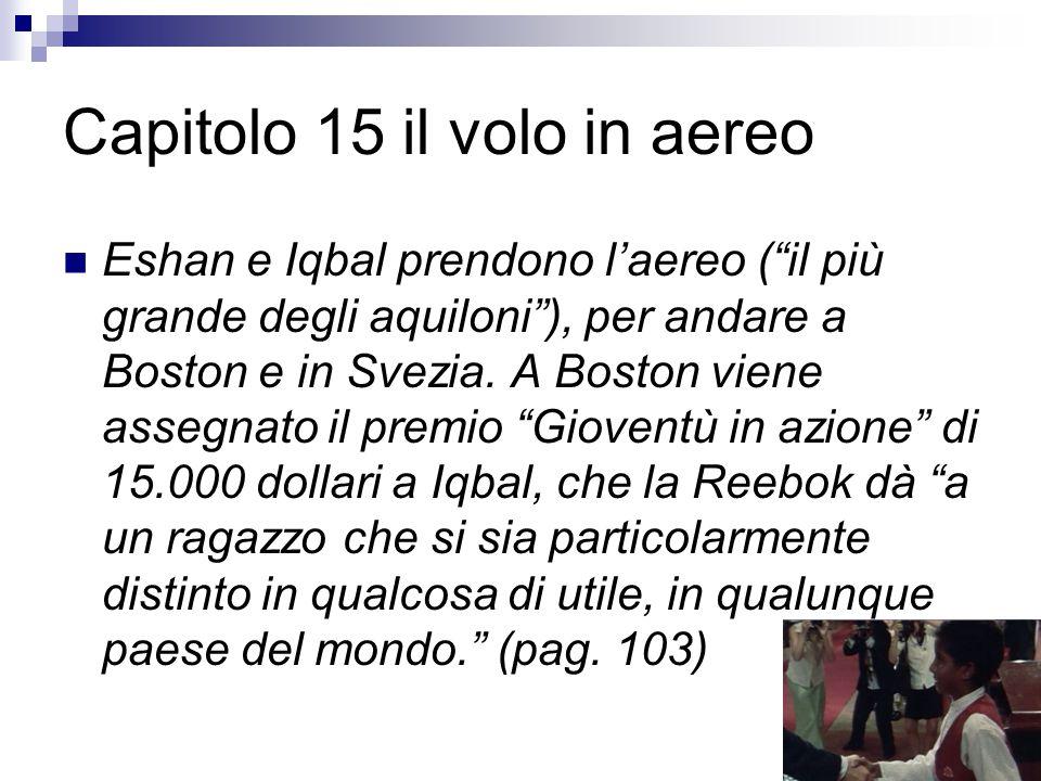 """Capitolo 15 il volo in aereo Eshan e Iqbal prendono l'aereo (""""il più grande degli aquiloni""""), per andare a Boston e in Svezia. A Boston viene assegnat"""