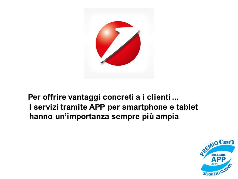 Per offrire vantaggi concreti a i clienti... I servizi tramite APP per smartphone e tablet hanno un'importanza sempre più ampia