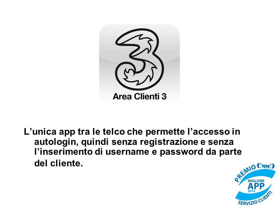 L'unica app tra le telco che permette l'accesso in autologin, quindi senza registrazione e senza l'inserimento di username e password da parte del cli