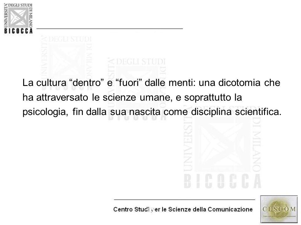 """10 La cultura """"dentro"""" e """"fuori"""" dalle menti: una dicotomia che ha attraversato le scienze umane, e soprattutto la psicologia, fin dalla sua nascita c"""