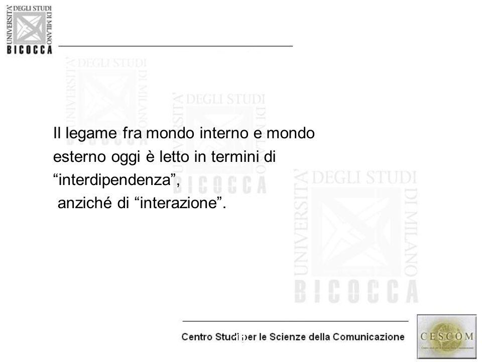 """11 Il legame fra mondo interno e mondo esterno oggi è letto in termini di """"interdipendenza"""", anziché di """"interazione""""."""