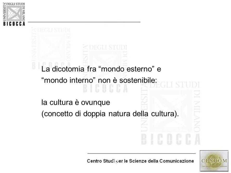 """12 La dicotomia fra """"mondo esterno"""" e """"mondo interno"""" non è sostenibile: la cultura è ovunque (concetto di doppia natura della cultura)."""