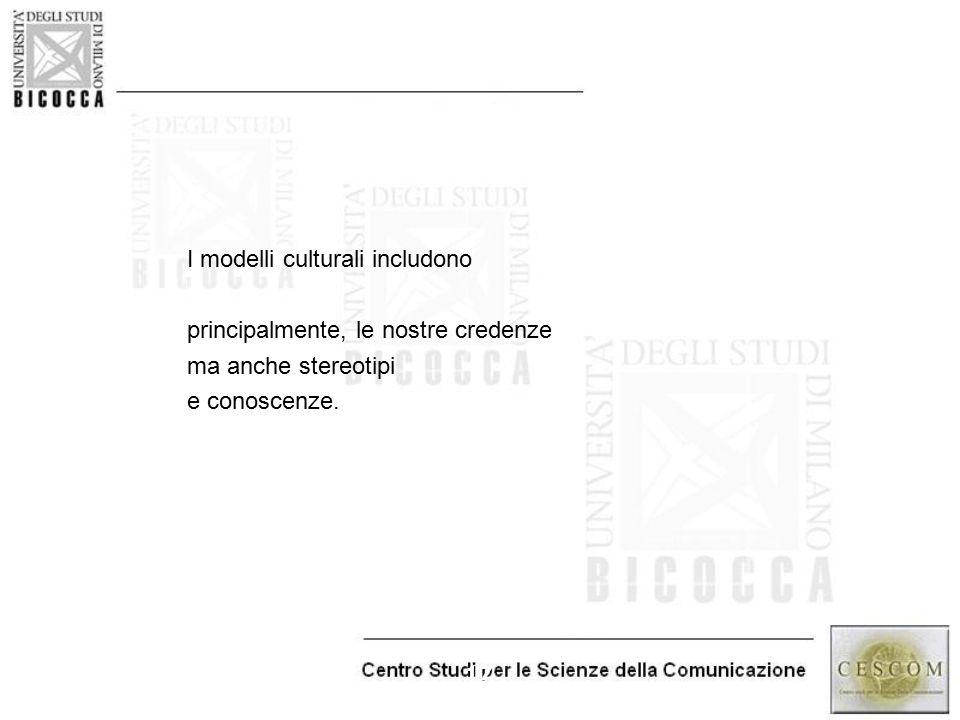 17 I modelli culturali includono principalmente, le nostre credenze ma anche stereotipi e conoscenze.
