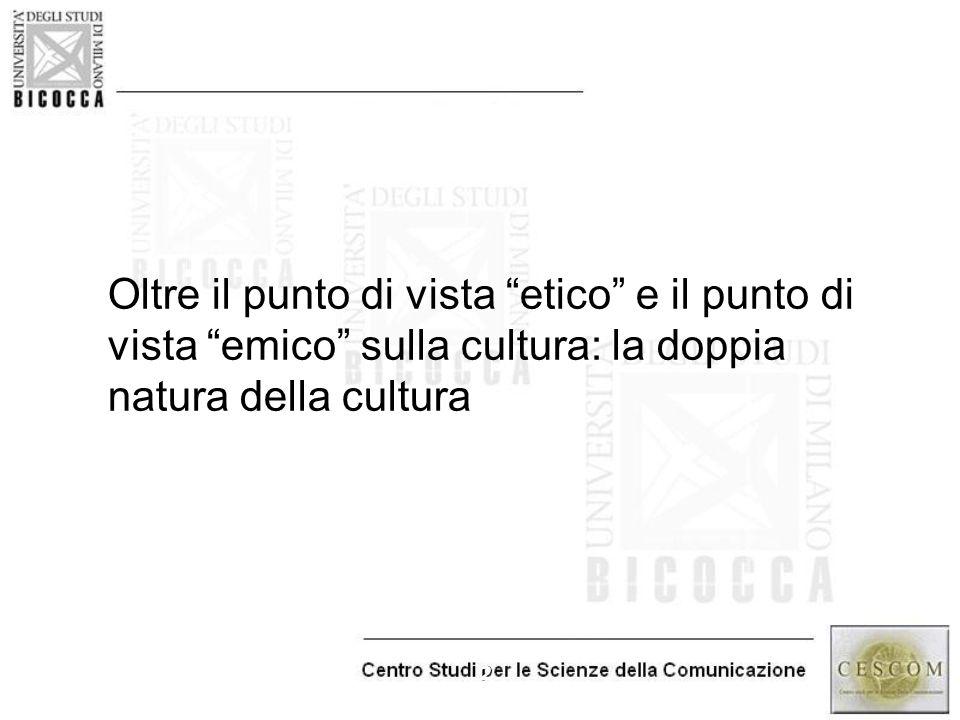 """2 Oltre il punto di vista """"etico"""" e il punto di vista """"emico"""" sulla cultura: la doppia natura della cultura"""