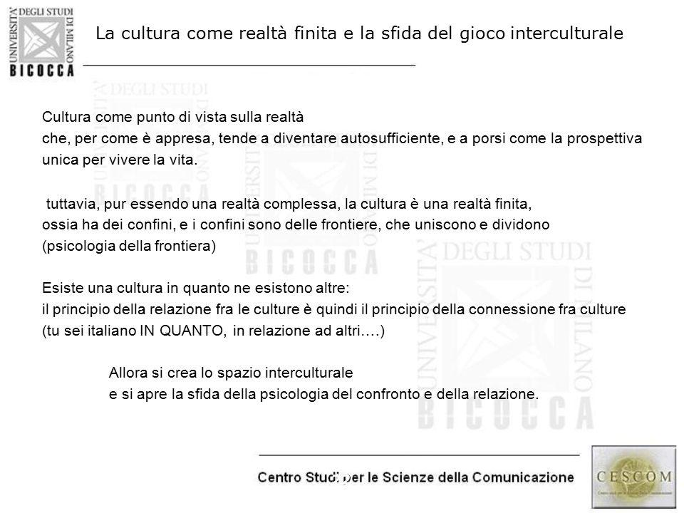 22 La cultura come realtà finita e la sfida del gioco interculturale Cultura come punto di vista sulla realtà che, per come è appresa, tende a diventa
