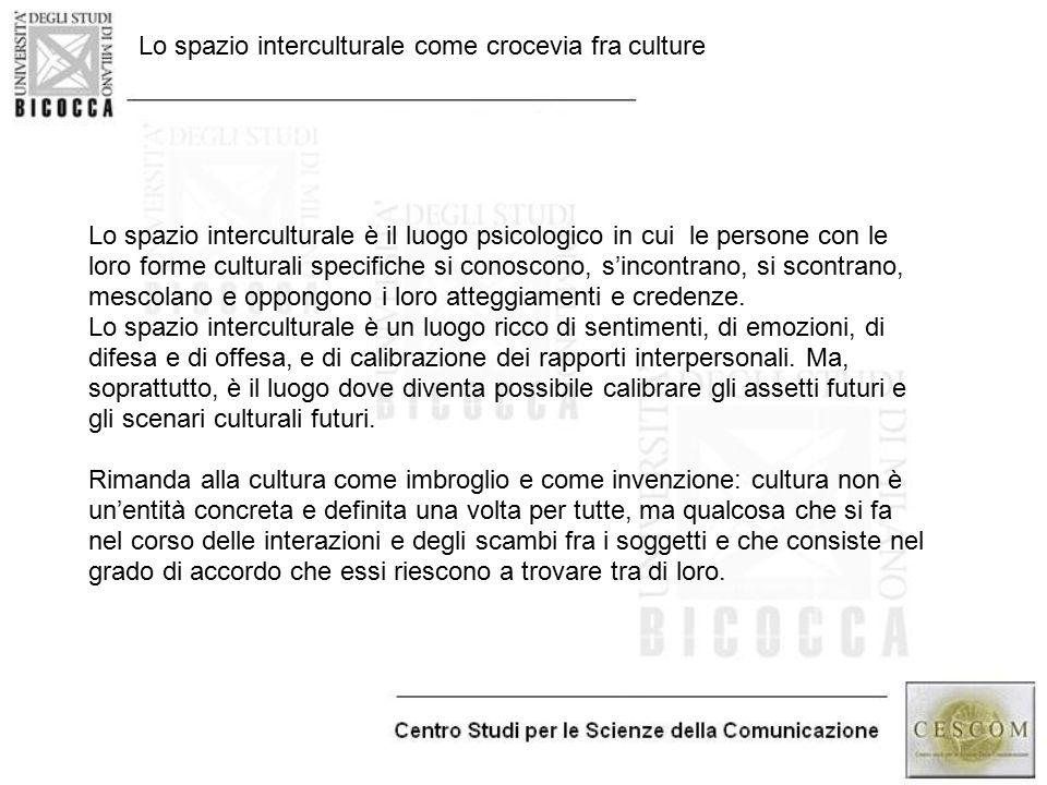 Lo spazio interculturale come crocevia fra culture Lo spazio interculturale è il luogo psicologico in cui le persone con le loro forme culturali speci