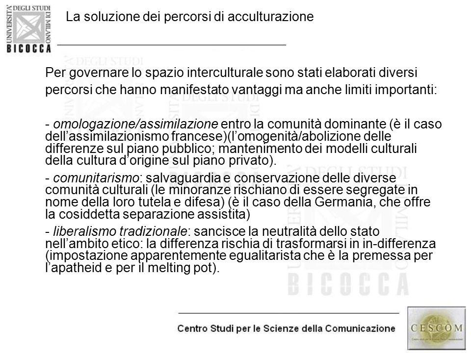La soluzione dei percorsi di acculturazione -Per governare lo spazio interculturale sono stati elaborati diversi -percorsi che hanno manifestato vanta