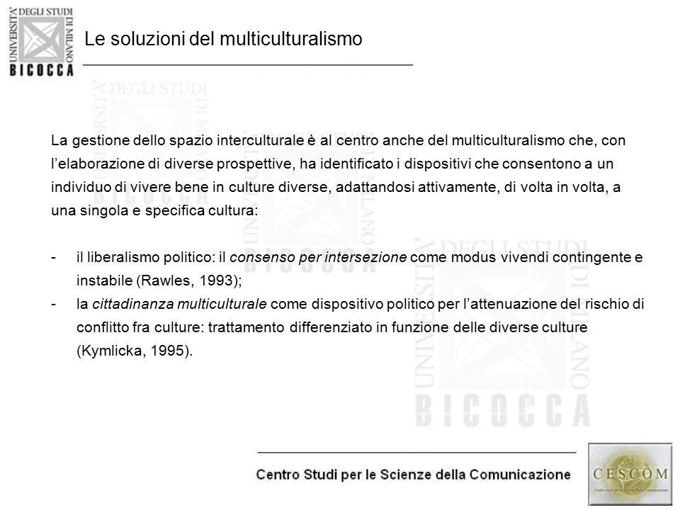 Le soluzioni del multiculturalismo La gestione dello spazio interculturale è al centro anche del multiculturalismo che, con l'elaborazione di diverse