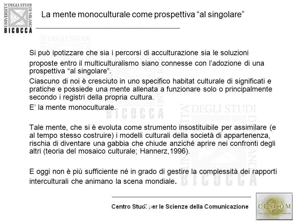 """28 La mente monoculturale come prospettiva """"al singolare"""" Si può ipotizzare che sia i percorsi di acculturazione sia le soluzioni proposte entro il mu"""
