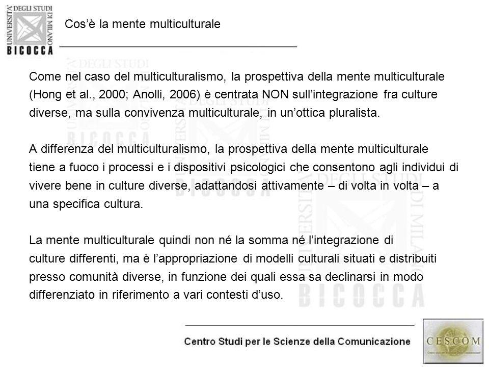 Cos'è la mente multiculturale Come nel caso del multiculturalismo, la prospettiva della mente multiculturale (Hong et al., 2000; Anolli, 2006) è centr