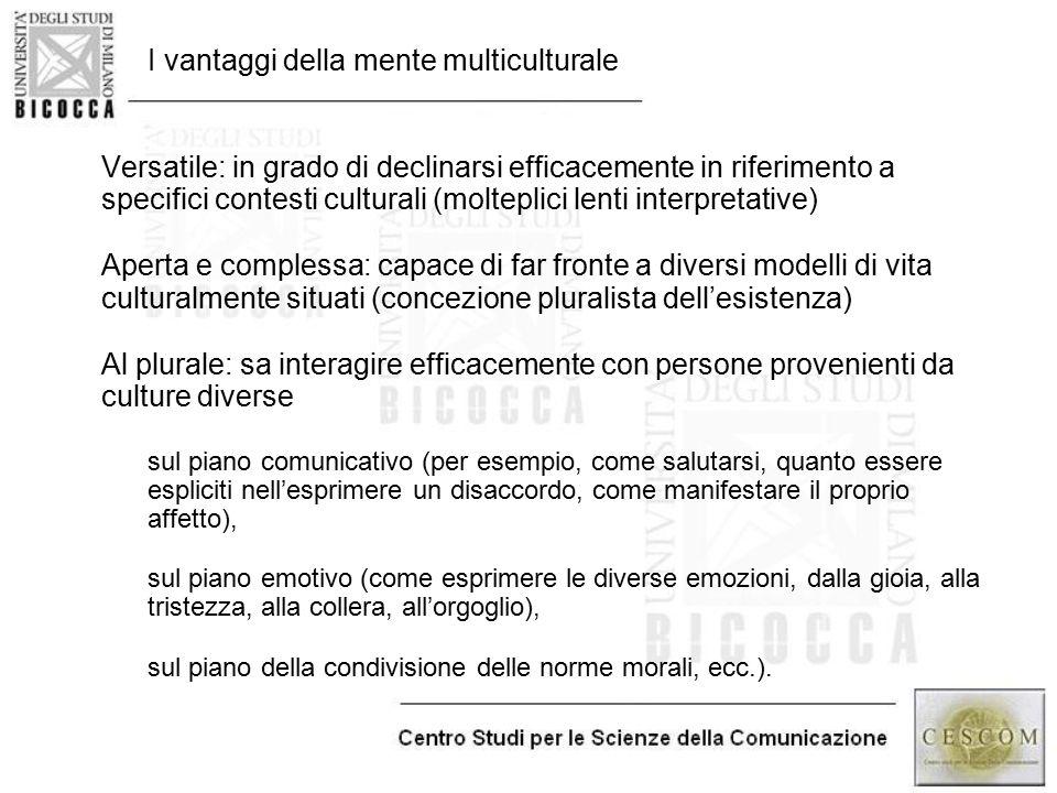 I vantaggi della mente multiculturale Versatile: in grado di declinarsi efficacemente in riferimento a specifici contesti culturali (molteplici lenti