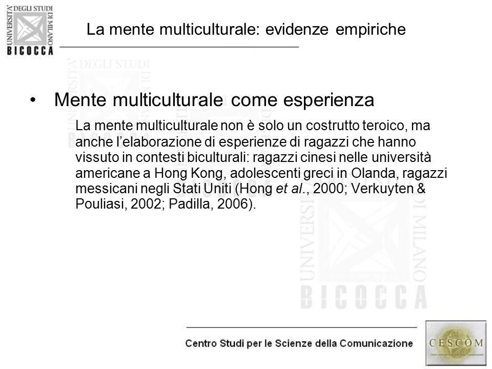 La mente multiculturale: evidenze empiriche Mente multiculturale come esperienza La mente multiculturale non è solo un costrutto teroico, ma anche l'e