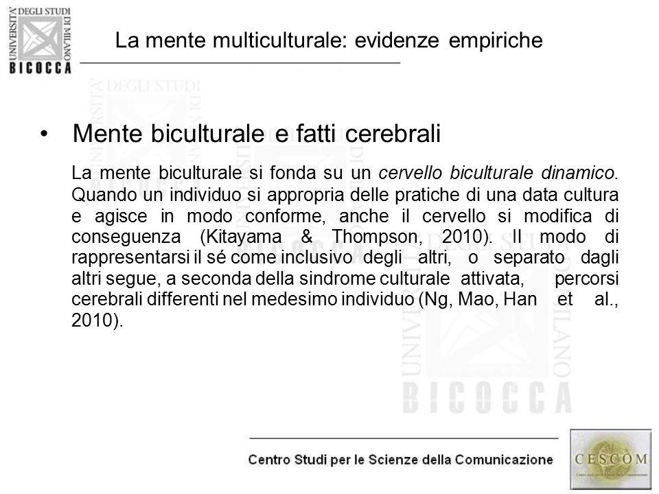 La mente multiculturale: evidenze empiriche Mente biculturale e fatti cerebrali La mente biculturale si fonda su un cervello biculturale dinamico. Qua