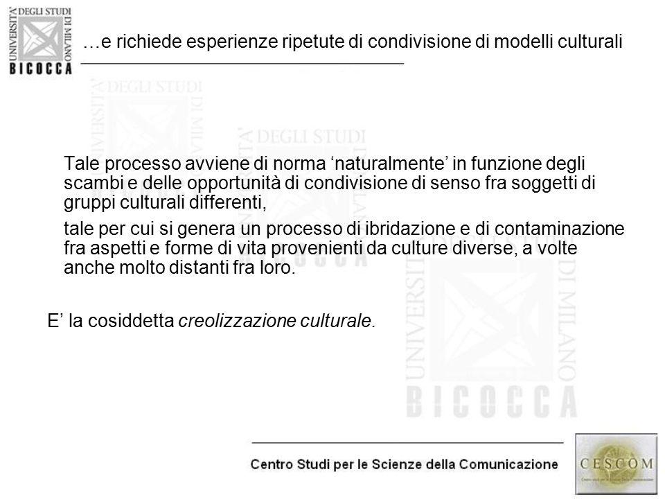 …e richiede esperienze ripetute di condivisione di modelli culturali Tale processo avviene di norma 'naturalmente' in funzione degli scambi e delle op