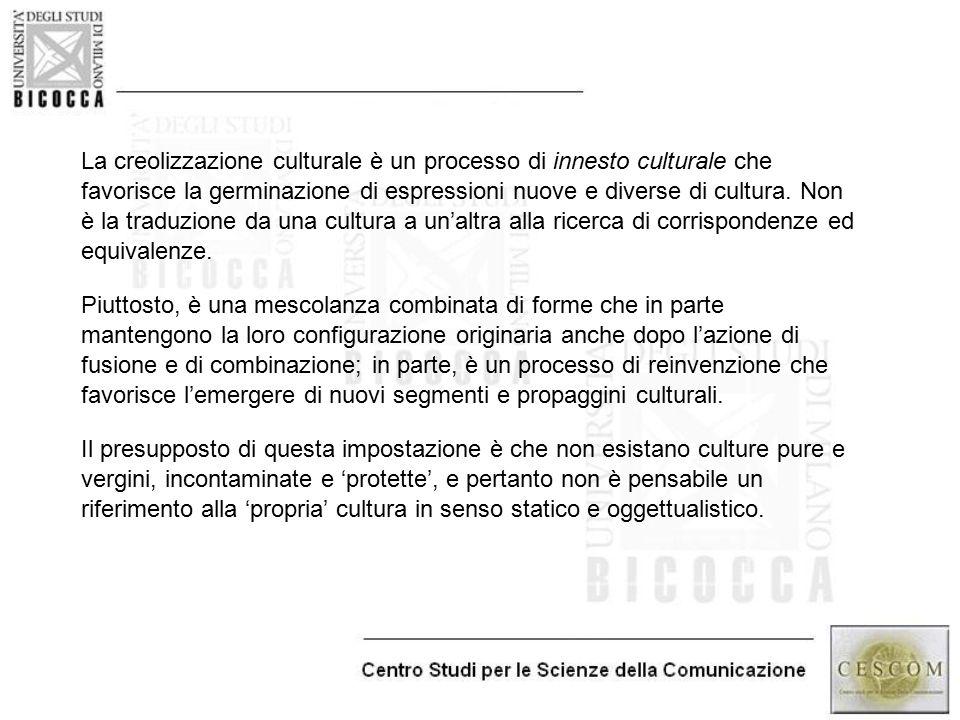 La creolizzazione culturale è un processo di innesto culturale che favorisce la germinazione di espressioni nuove e diverse di cultura. Non è la tradu