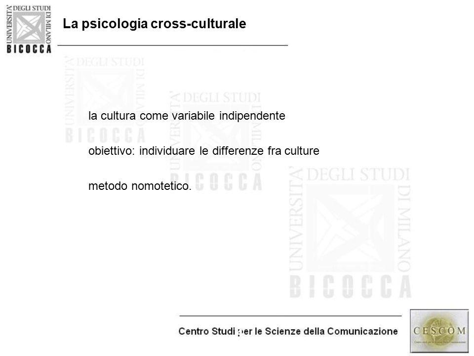 4 La psicologia cross-culturale la cultura come variabile indipendente obiettivo: individuare le differenze fra culture metodo nomotetico.