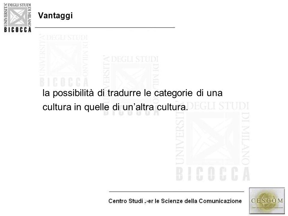 5 Vantaggi la possibilità di tradurre le categorie di una cultura in quelle di un'altra cultura.