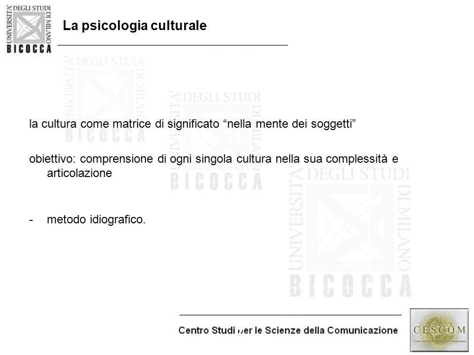 """7 La psicologia culturale la cultura come matrice di significato """"nella mente dei soggetti"""" obiettivo: comprensione di ogni singola cultura nella sua"""