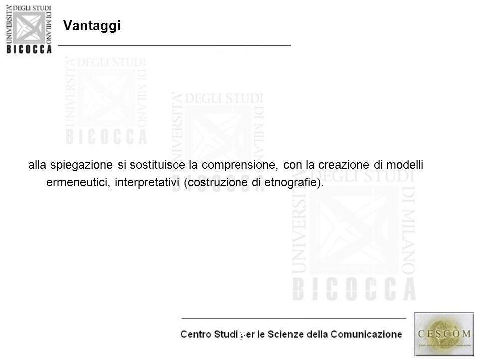 8 Vantaggi alla spiegazione si sostituisce la comprensione, con la creazione di modelli ermeneutici, interpretativi (costruzione di etnografie).
