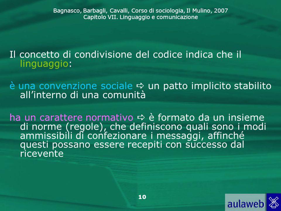 Bagnasco, Barbagli, Cavalli, Corso di sociologia, Il Mulino, 2007 Capitolo VII. Linguaggio e comunicazione 10 Il concetto di condivisione del codice i