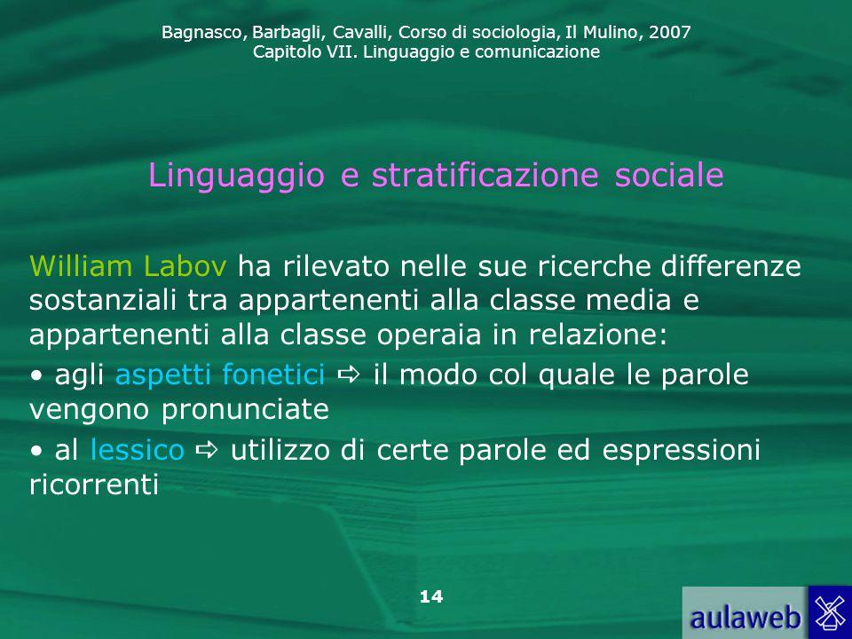 Bagnasco, Barbagli, Cavalli, Corso di sociologia, Il Mulino, 2007 Capitolo VII. Linguaggio e comunicazione 14 Linguaggio e stratificazione sociale Wil