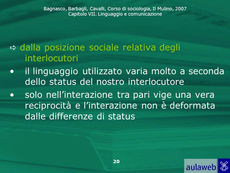 Bagnasco, Barbagli, Cavalli, Corso di sociologia, Il Mulino, 2007 Capitolo VII. Linguaggio e comunicazione 20  dalla posizione sociale relativa degli