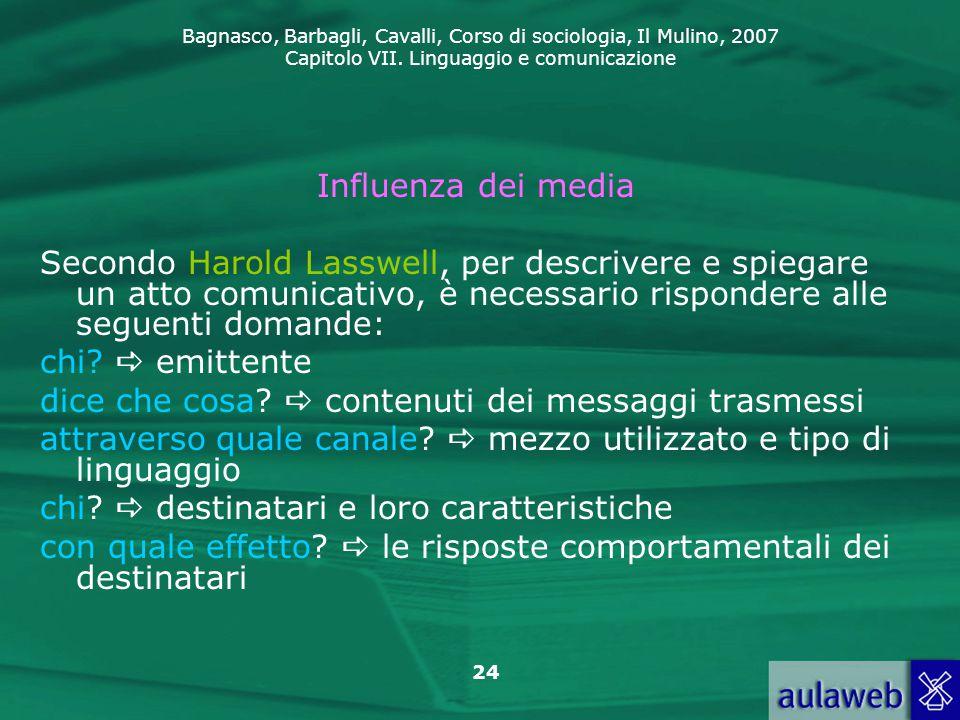 Bagnasco, Barbagli, Cavalli, Corso di sociologia, Il Mulino, 2007 Capitolo VII. Linguaggio e comunicazione 24 Influenza dei media Secondo Harold Lassw