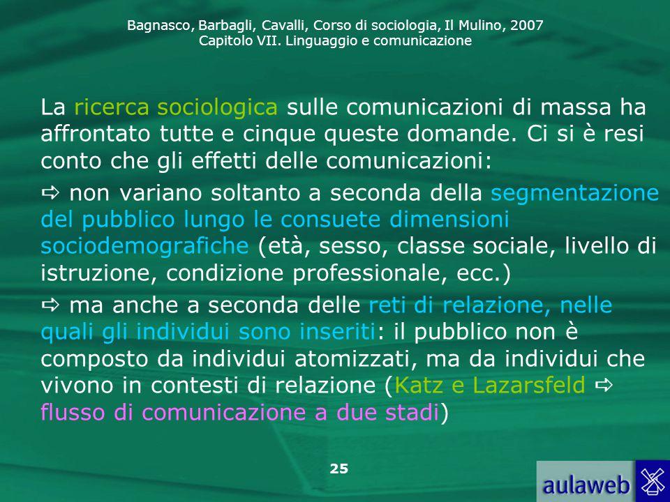 Bagnasco, Barbagli, Cavalli, Corso di sociologia, Il Mulino, 2007 Capitolo VII. Linguaggio e comunicazione 25 La ricerca sociologica sulle comunicazio