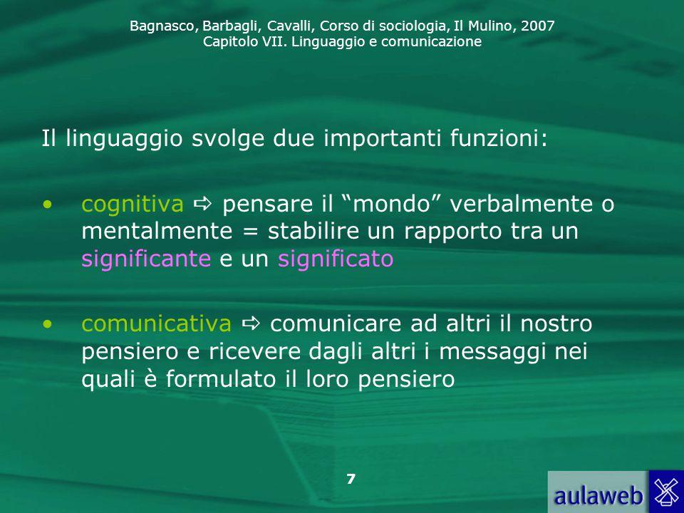 Bagnasco, Barbagli, Cavalli, Corso di sociologia, Il Mulino, 2007 Capitolo VII. Linguaggio e comunicazione 7 Il linguaggio svolge due importanti funzi