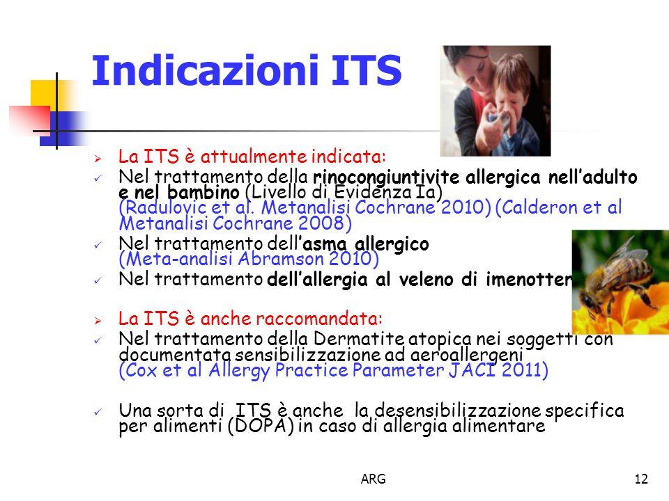 ARG12 Indicazioni ITS  La ITS è attualmente indicata: Nel trattamento della rinocongiuntivite allergica nell'adulto e nel bambino (Livello di Evidenza Ia) (Radulovic et al.