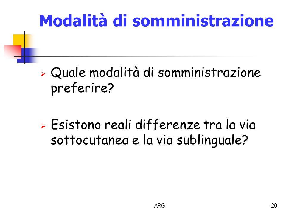 ARG20 Modalità di somministrazione  Quale modalità di somministrazione preferire.
