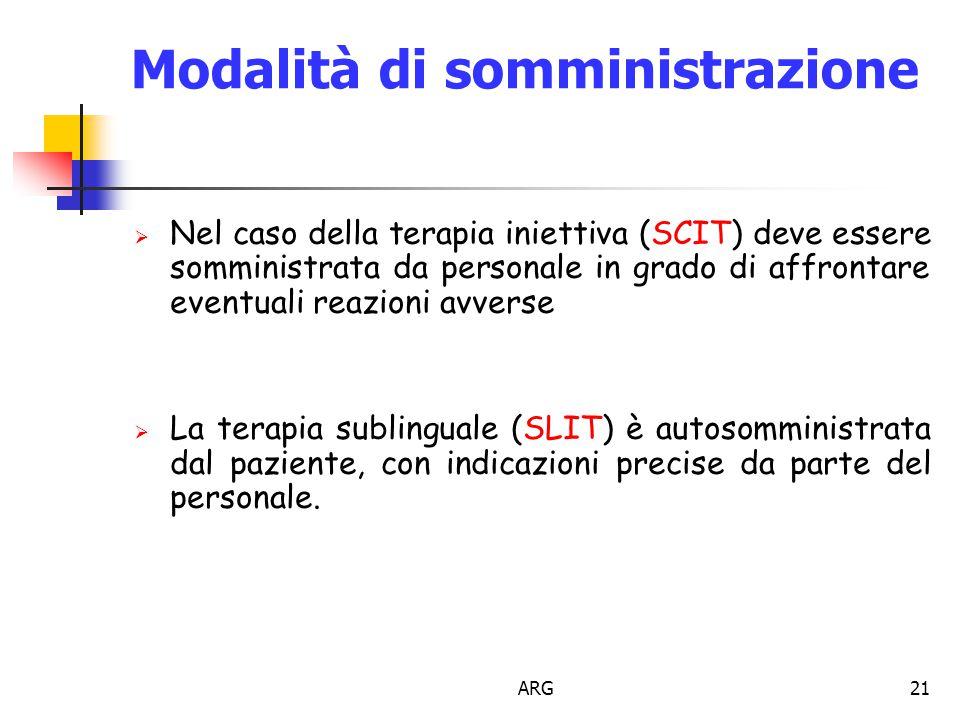 ARG21 Modalità di somministrazione  Nel caso della terapia iniettiva (SCIT) deve essere somministrata da personale in grado di affrontare eventuali reazioni avverse  La terapia sublinguale (SLIT) è autosomministrata dal paziente, con indicazioni precise da parte del personale.