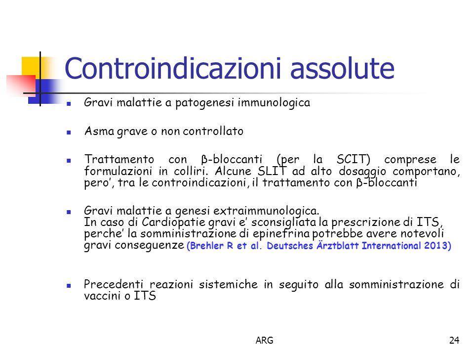 ARG24 Gravi malattie a patogenesi immunologica Asma grave o non controllato Trattamento con β-bloccanti (per la SCIT) comprese le formulazioni in colliri.