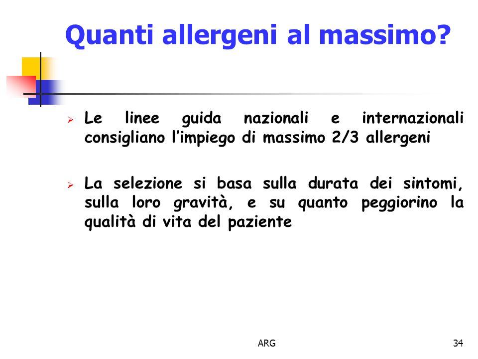 ARG34 Quanti allergeni al massimo.