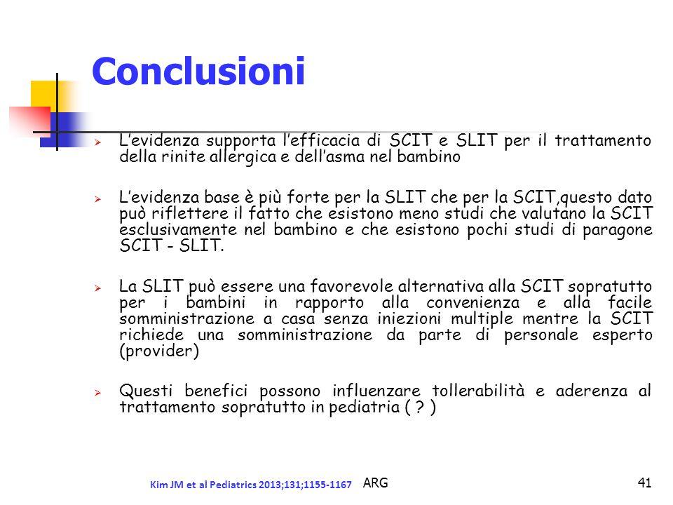 ARG41 Conclusioni  L'evidenza supporta l'efficacia di SCIT e SLIT per il trattamento della rinite allergica e dell'asma nel bambino  L'evidenza base è più forte per la SLIT che per la SCIT,questo dato può riflettere il fatto che esistono meno studi che valutano la SCIT esclusivamente nel bambino e che esistono pochi studi di paragone SCIT - SLIT.