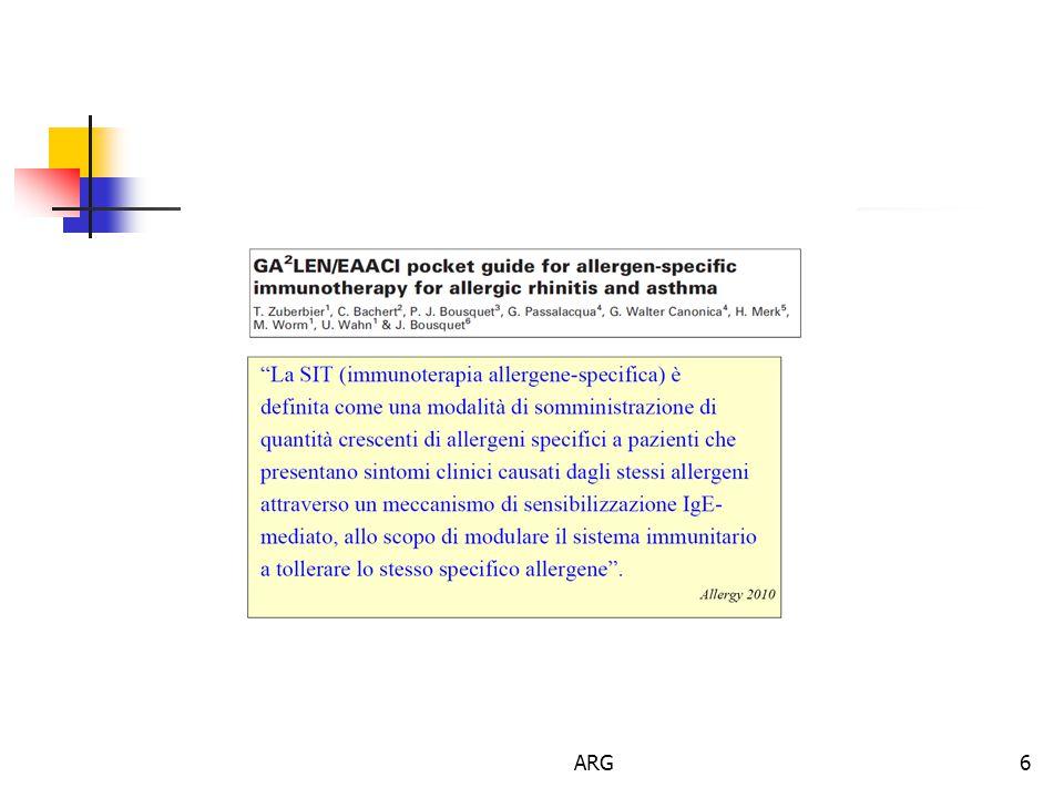 7 L'Immunoterapia allergene-specifica  L'immunoterapia allergene specifica consiste nella somministrazione ripetuta di un estratto allergenico verso il quale il paziente ha delle IgE specifiche con l'obiettivo di indurre una protezione nei confronti dei sintomi allergici e dei meccanismi infiammatori che si associano all'esposizione naturale alla fonte allergenica Cox L et al Allergen Immunotherapy: A practice parameter Third Update JACI 2011