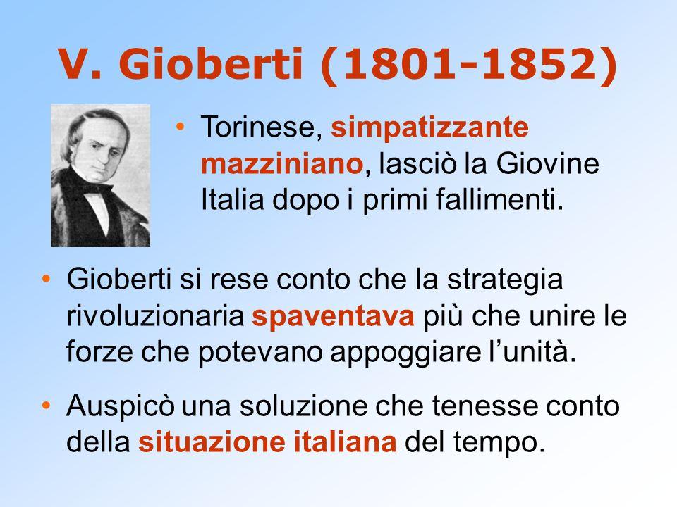 V. Gioberti (1801-1852) Gioberti si rese conto che la strategia rivoluzionaria spaventava più che unire le forze che potevano appoggiare l'unità. Ausp