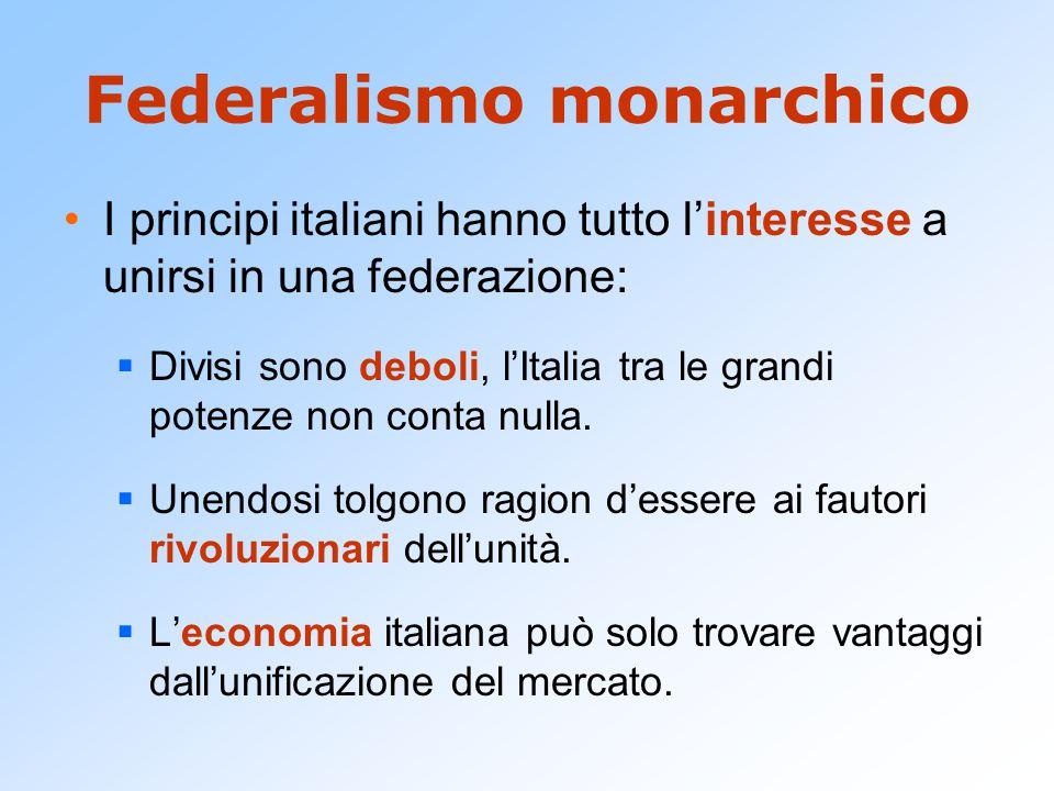 Federalismo monarchico I principi italiani hanno tutto l'interesse a unirsi in una federazione:  Divisi sono deboli, l'Italia tra le grandi potenze non conta nulla.