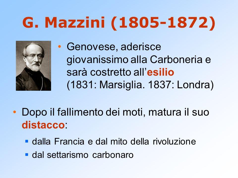 G. Mazzini (1805-1872) Dopo il fallimento dei moti, matura il suo distacco:  dalla Francia e dal mito della rivoluzione  dal settarismo carbonaro Ge