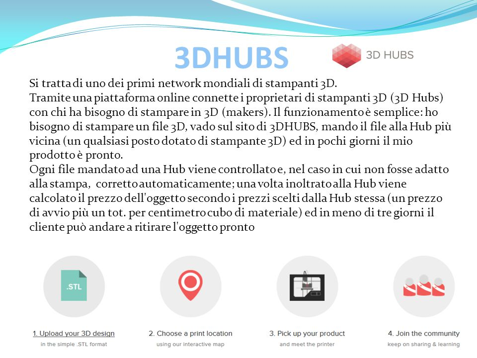 3DHUBS Si tratta di uno dei primi network mondiali di stampanti 3D.