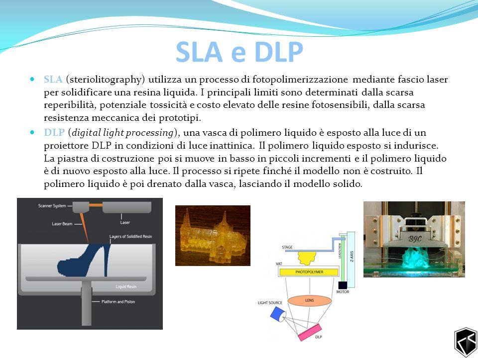 SLA e DLP SLA (steriolitography) utilizza un processo di fotopolimerizzazione mediante fascio laser per solidificare una resina liquida.