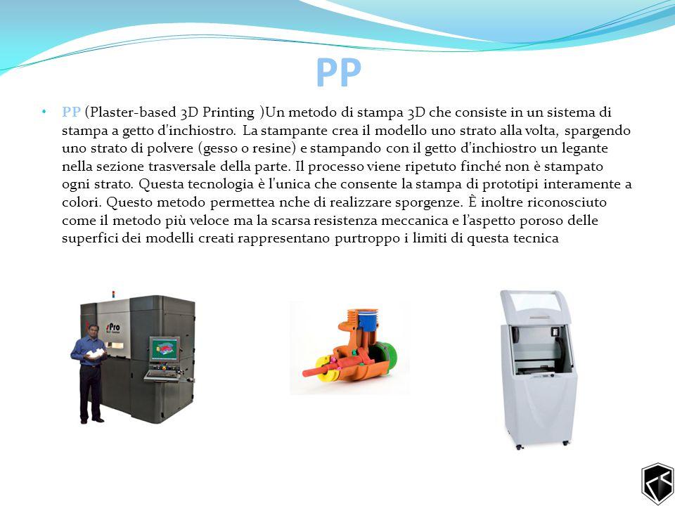 PP PP (Plaster-based 3D Printing )Un metodo di stampa 3D che consiste in un sistema di stampa a getto d inchiostro.